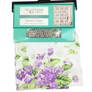 WAVERLY Sweet Violet Floral Shower Curtain